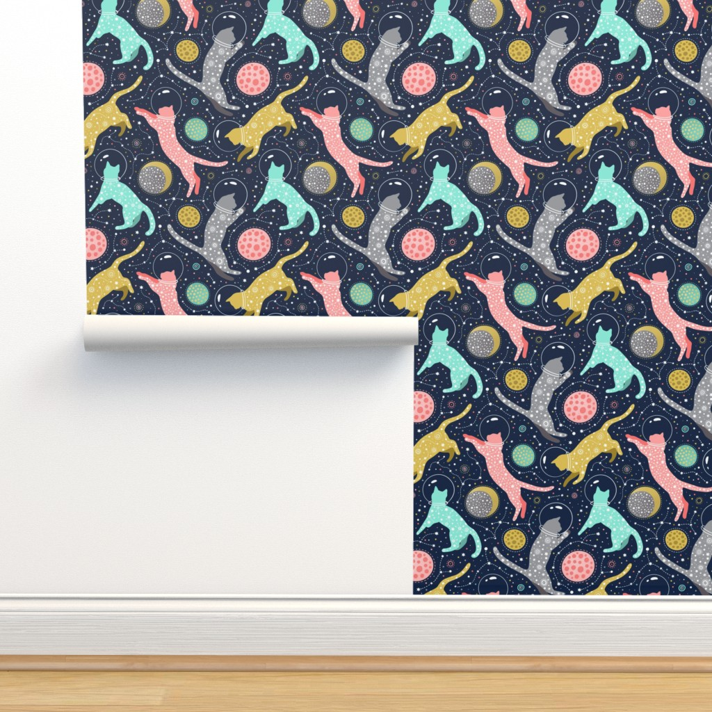 Isobar Durable Wallpaper featuring Cats in space  by julia_gosteva