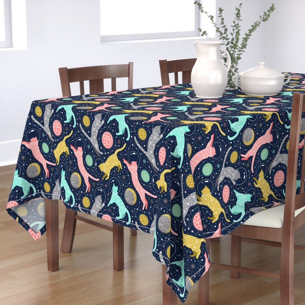 Bantam Rectangular Tablecloth featuring Cats in space  by julia_gosteva