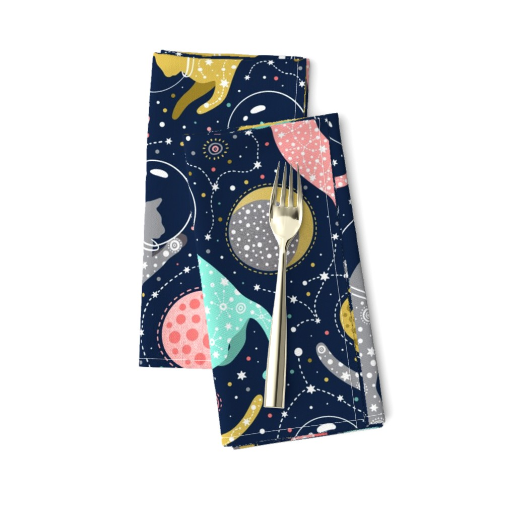 Amarela Dinner Napkins featuring large scale / cats in space  by julia_gosteva