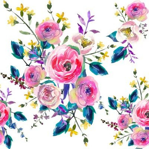 Pink Teal Yellow Watercolor Floral