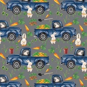 Easter Bunny Truck Carrots Charcoal Gray Old Blue Truck and Bunnies Rabbits