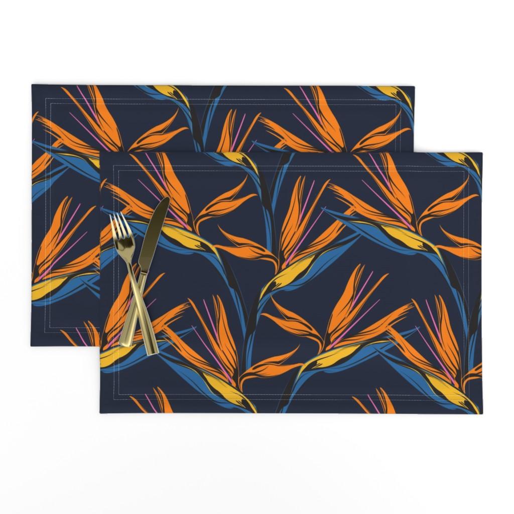 Lamona Cloth Placemats featuring Bird of Paradise - Blue by lapetitelecour