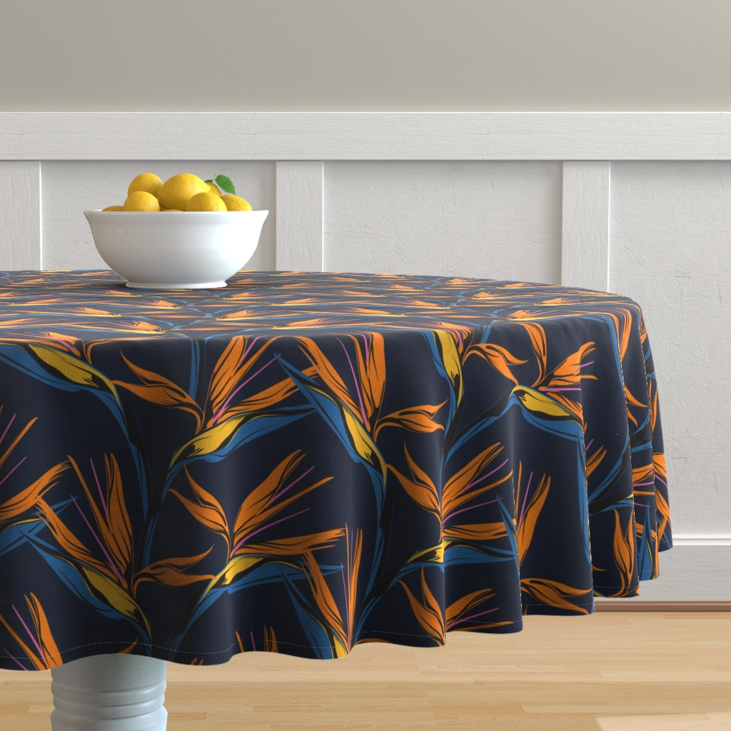 Malay Round Tablecloth featuring Bird of Paradise - Blue by lapetitelecour