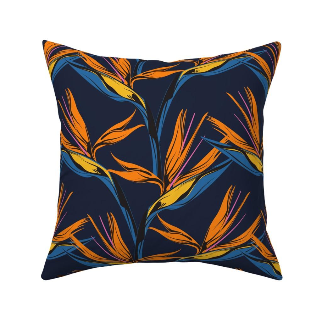 Catalan Throw Pillow featuring Bird of Paradise - Blue by lapetitelecour