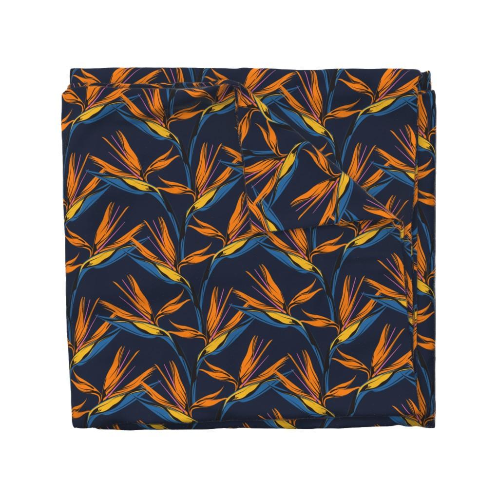 Wyandotte Duvet Cover featuring Bird of Paradise - Blue by lapetitelecour