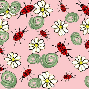 lady bugs daisies  pink