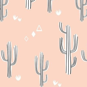 Large Cacti in Blush