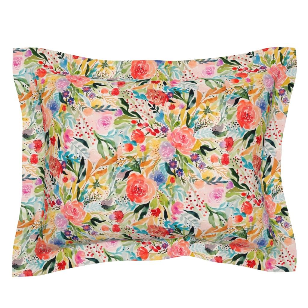 Sebright Pillow Sham featuring Flower Joy! by rhyan