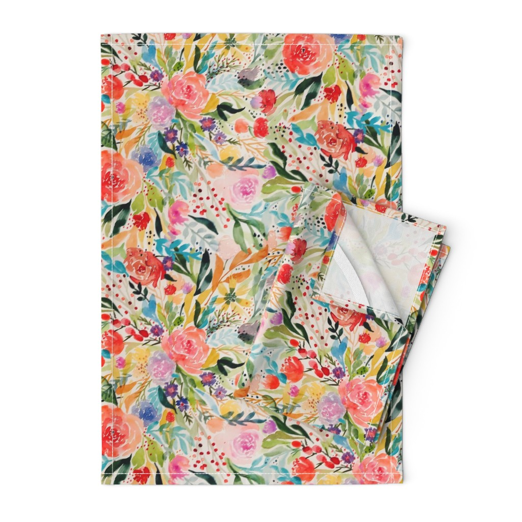 Orpington Tea Towels featuring Flower Joy! by rhyan