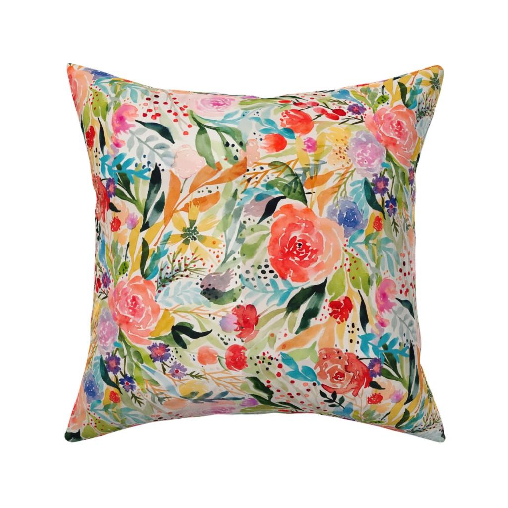 Catalan Throw Pillow featuring Flower Joy! by rhyan