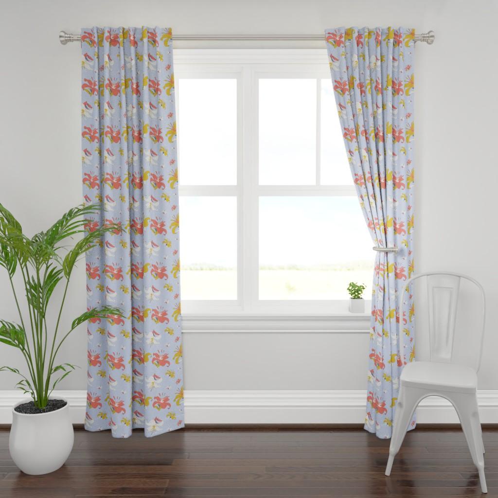 Plymouth Curtain Panel featuring daylight lily - cornflower blue by bravenewart