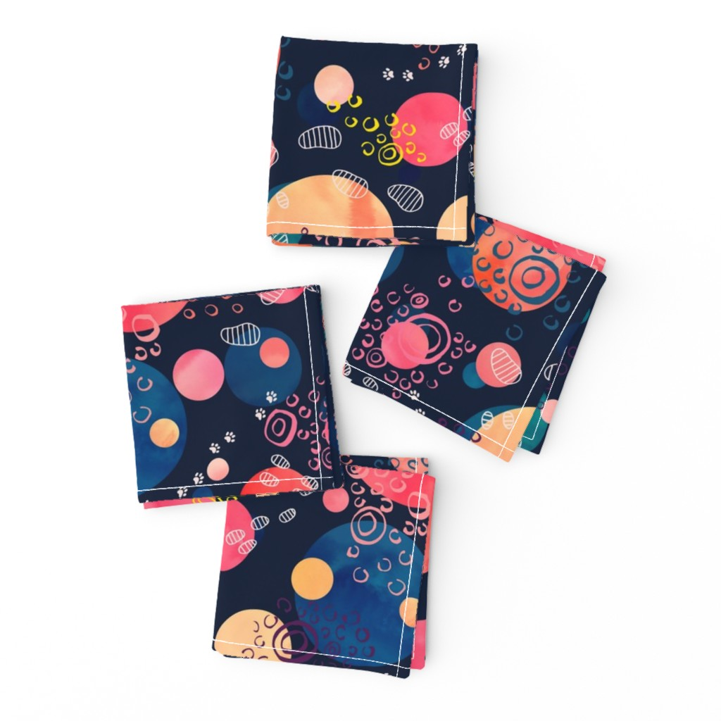 Frizzle Cocktail Napkins featuring Footprints on the Moon by marketa_stengl