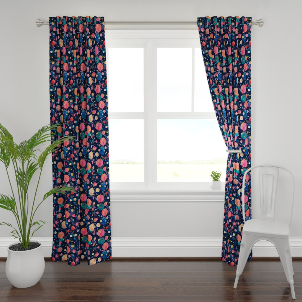 Plymouth Curtain Panel featuring Footprints on the Moon by marketa_stengl