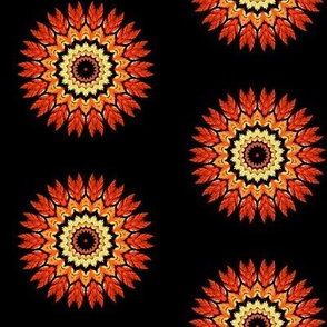 Orange & Black Feather Mandala Pattern