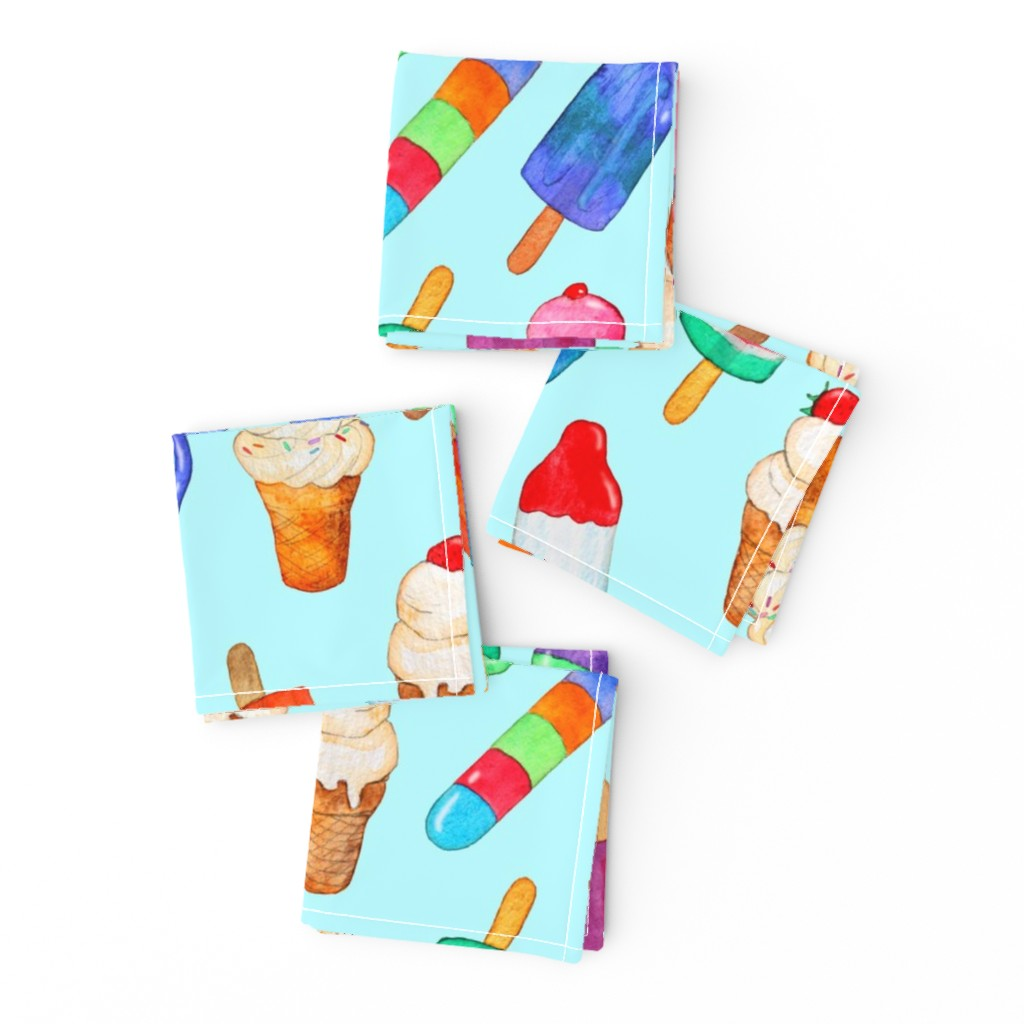 Frizzle Cocktail Napkins featuring Watercolor Summer Ice Creams on Light Blue - Large by micklyn