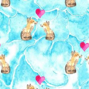 19-01X Fox Valentine Animal Love Cloud Blue _ Miss Chiff Designs