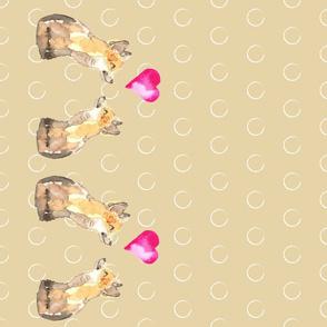 19-01W Valentine Fox Love  Animal Tea Towel _ Miss Chiff Designs
