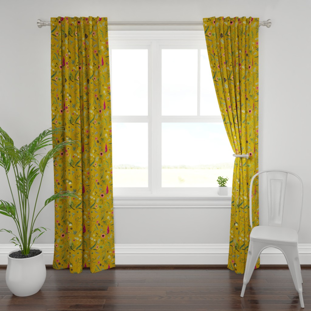 Plymouth Curtain Panel featuring boho botanica - saffron by cinneworthington