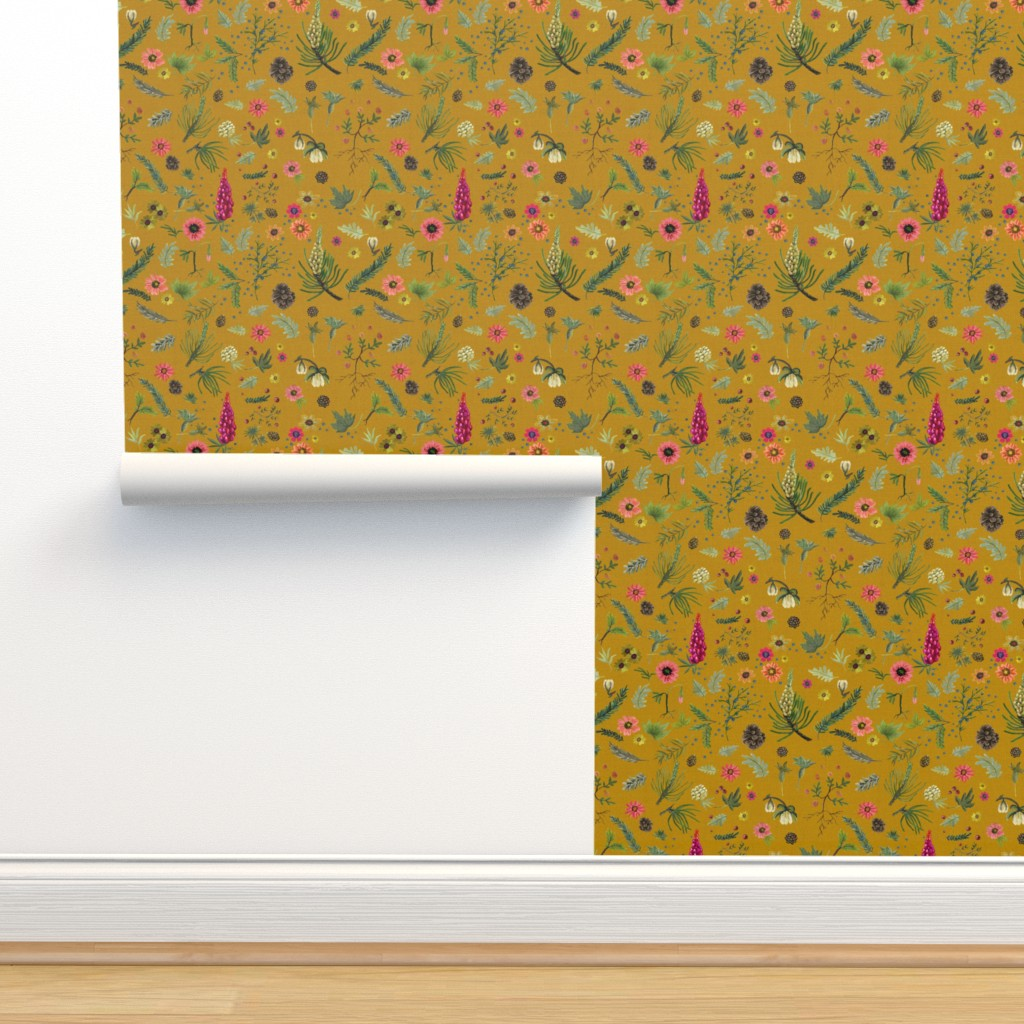 Isobar Durable Wallpaper featuring boho botanica - saffron by cinneworthington