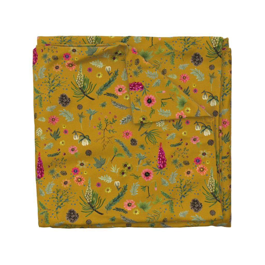 Wyandotte Duvet Cover featuring boho botanica - saffron by cinneworthington