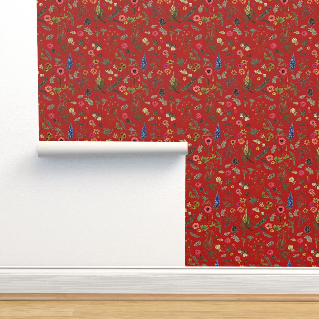 Isobar Durable Wallpaper featuring boho botanica - laquer red by cinneworthington