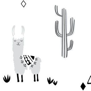 Large llama and cacti-gray