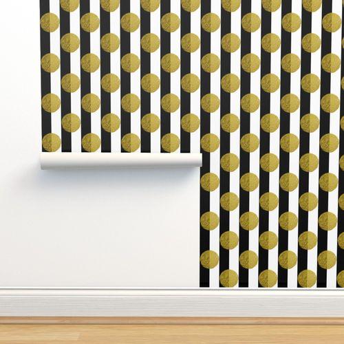 3 Inch Gold Glitter Polka Dots On Black Spoonflower