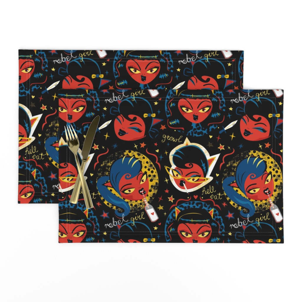 Lamona Cloth Placemats featuring Rockabilly Rebel Girl by Mount Vic and Me by mountvicandme
