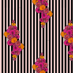 Bold Floral on Black and Pale Pink Stripe