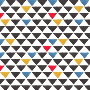 Triangles black and primary red blue yellow