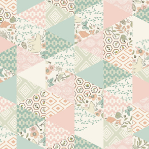 Autumn Pastel - Rotated - Cream , Pink, Aqua, Mint, Blush - Wholecloth Triangle Quilt - Cheater Quilt