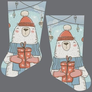 Mini white bear stocking