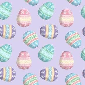 easter eggs on lavender
