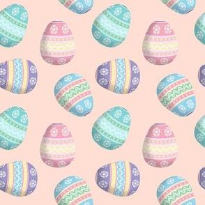 easter eggs on peach
