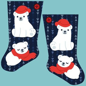 Mini cozy polar bear stocking