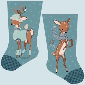 Mini cozy deer stocking