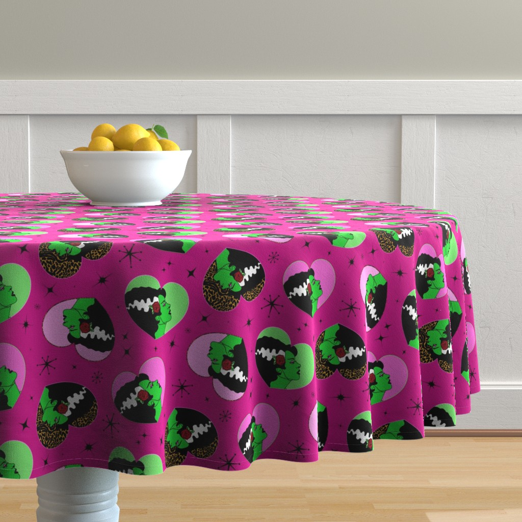 Malay Round Tablecloth featuring Bride of Frankie Hearts in Lipstick Pink by elliottdesignfactory