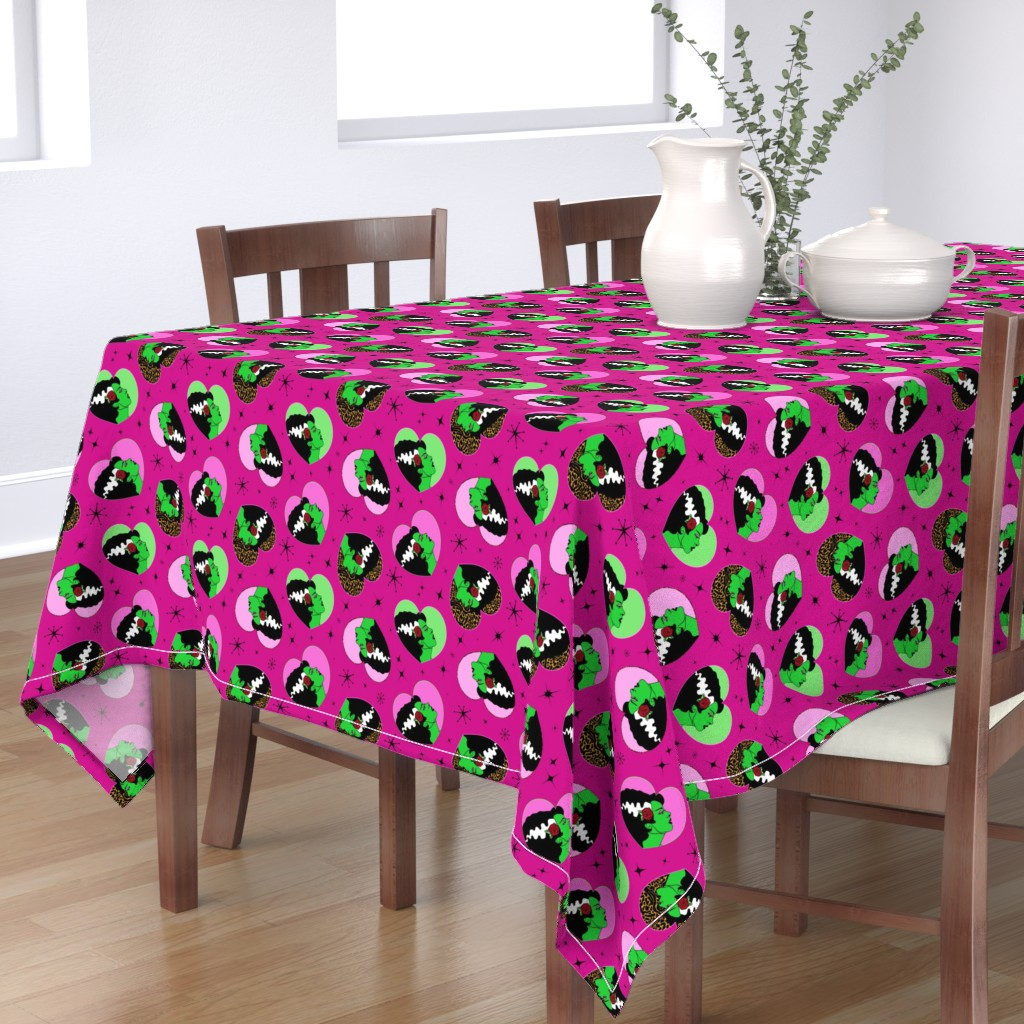 Bantam Rectangular Tablecloth featuring Bride of Frankie Hearts in Lipstick Pink by elliottdesignfactory