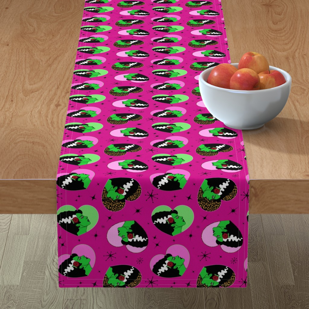 Minorca Table Runner featuring Bride of Frankie Hearts in Lipstick Pink by elliottdesignfactory