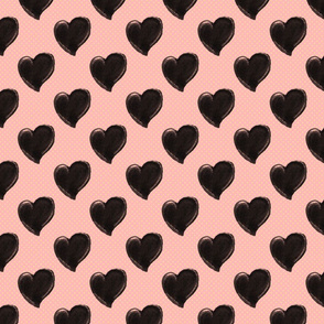Watercolor Black Hearts on Dusty Pink