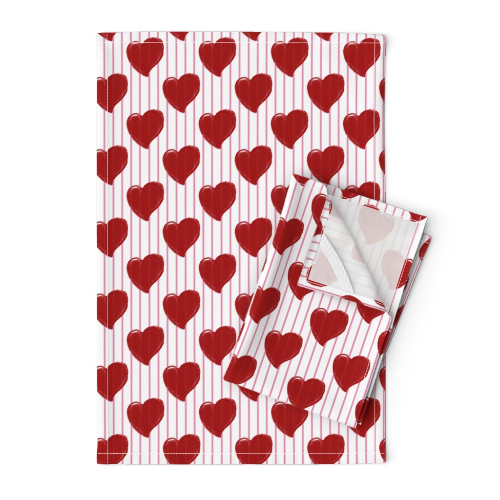 Orpington Tea Towels featuring Red Hearts & Pink Stripes by miki_english