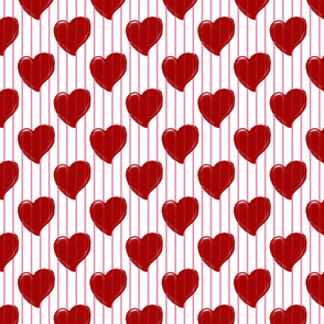 Red Hearts & Pink Stripes