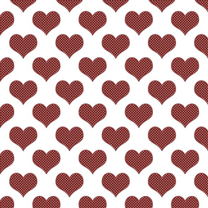 Burgundy Polka Dot  Hearts