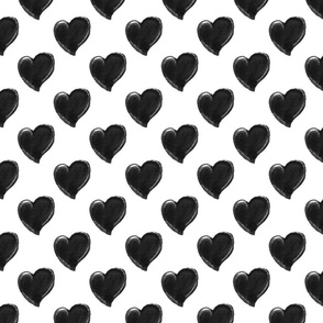 Black and White Watercolor Hearts