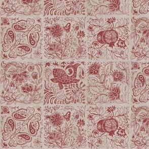 Palace Garden | Cinnamon Woodblock Tile