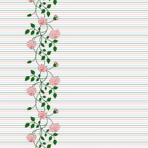 Art Nouveau Rose on stripes