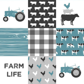 Farm Life Wholecloth - Farm themed patchwork fabric - cows, pigs, roosters - blue and grey LAD19