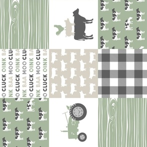 Farm Life Wholecloth - Farm themed patchwork fabric - cows, pigs, roosters - sage and tan LAD19 (90)