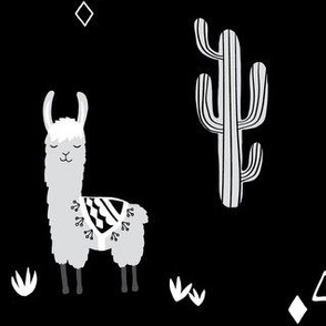 Large llama and cacti - black