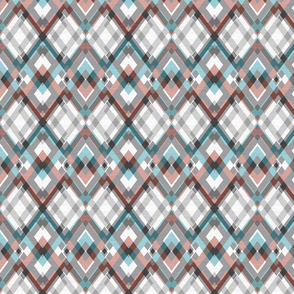 Geometric pattern, gray, blue, coral rhombus on a white background.